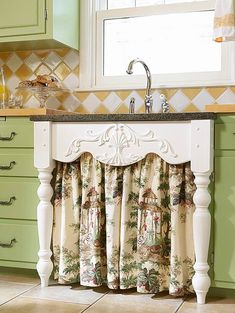 24 unique kitchen cabinet curtain ideas for an adorable home decor style - furnishing ideas Under Kitchen Sinks, Best Kitchen Cabinets, Kitchen Cabinet Styles, Under Sink, Base Cabinets, Shabby Chic Kitchen Cabinets, Pink Cabinets, Kitchen Cupboard, Cupboard Storage
