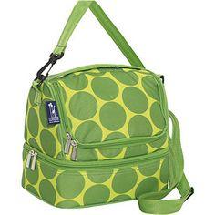 Wildkin Big Dots Green Double Decker Lunch Bag