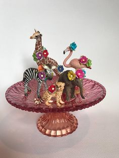 0f170a441 Wild One Birthday Girl Decorations Zoo Animals Cake Topper Safari Party Baby  Shower Zoo Party Animals Circus Giraffe Elephant Zebra Flamingo