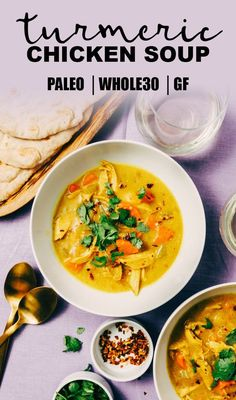 Crank your paleo soup game up a notch with this turmeric chicken soup! The tang and spice of fresh turmeric root really shines in this easy soup recipe. It's naturally gluten-free, paleo, and Whole30 compliant and a delicious way to use leftover roasted chicken. #turmeric #chickensoup #paleo #whole30 #recipe #realfood #wholefoods