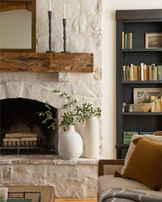$100 DIY Fireplace makeover using Mortar — REBECCA & GENEVIEVE Home Fireplace, Fireplace Remodel, Fireplace Design, Stone Fireplace Makeover, Fireplace Makeovers, Brick Fireplace, Diy Room Decor, Living Room Decor, Bedroom Decor