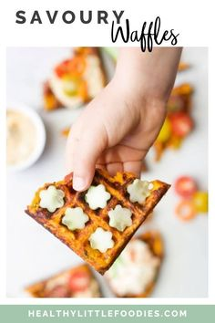 These Savoury Waffles are packed with grated sweet potato and carrots and are a fun way to get kids to eat their veggies. They are easy to adapt and a great way to use up old vegetables. Serve at breakfast, lunch or as part of a main meal. Also great for popping in the lunchbox. Fantastic for Baby-led Weaning, toddlers and big kids.