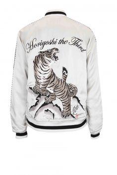 Horiyoshi the Third: tiger on rock embroidered bomber jacket