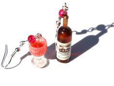 wine earrings red wine earrings miniature food by DizzyDayDreamz