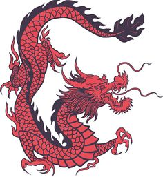 Chinese Dragon in vintage red color, - - . - Chinese Dragon in vintage red color, – – - Chinese Dragon Drawing, Red Chinese Dragon, Chinese Dragon Tattoos, Japanese Dragon, Red Dragon, Japanese Tattoos, Dragon Tattoo For Women, Dragon Tattoo Designs, Animal Tattoos
