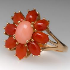 Pink Coral & Red Agate Estate Cocktail Ring 14K Yellow Gold