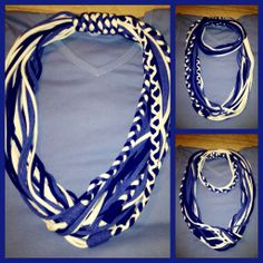 Blue & white. Tz's T-Shirt Scarves. Recycled/Upcycled scarves made out of T-shirts. My very own Creations. For sale also :-)