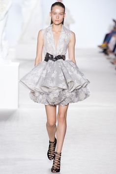 8. Giambattista Valli Fall 2013 Couture: dress resembles the shorter houppelandes worn by men in the late middle ages