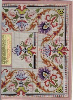 This Pin was discovered by Rom Mini Cross Stitch, Cross Stitch Borders, Cross Stitch Flowers, Counted Cross Stitch Patterns, Cross Stitch Designs, Cross Stitching, Blackwork Embroidery, Diy Embroidery, Cross Stitch Embroidery