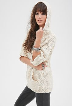 Hooded Popcorn Knit Sweater | Forever21 - 2000080985