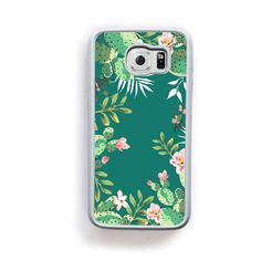 Cactus green and pink boarder on turquoise for Galaxy S6