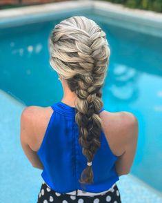 Fishtail four strand braid combo Down Hairstyles, Braided Hairstyles, Four Strand Braids, Good Hair Day, Hair Photo, Hair Inspo, Hair Looks, Hair Cuts, Hair Styles