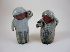 Pair of Japan Gempo UCTCI Japan stoneware pottery man woman pepper salt shaker