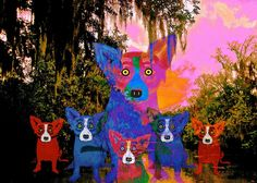 """""""With Swamp Dogs,"""" explains George Rodrigue, """"I combine these mysteries, the loup-garou and the feux follets."""""""