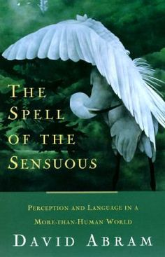 'The Spell of the Sensuous' by David Abram. Animal tracks, word magic, the speech of stones, the power of letters, and the taste of the wind all figure prominently in this intellectual tour-de-force that returns us to our senses and to the sensuous terrain that sustains us. This is a major work of ecological philosophy that startles the senses out of habitual ways of perception.