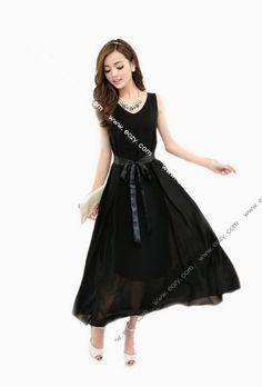 Fashion Women's Noble Long Sleeveless Chiffon Dress for Decoration #EOZY