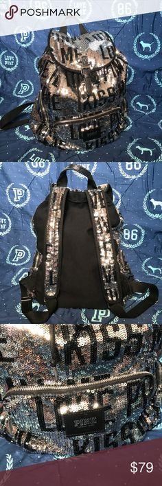 "PINK Victoria's Secret Fashion Show Backpack Like new! PINK Victoria's Secret Fashion Show Sequin backpack. ""Kiss Me, Love PINK."" Silver and black Sequin. Rare!  VS PINK, PINK Backpack, Victoria's secret, Fashion Show Backpack PINK Victoria's Secret Bags Backpacks"