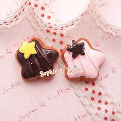 Star Chocolate Fudge Cookie Cabochon / Decoden Flatback - 8pcs