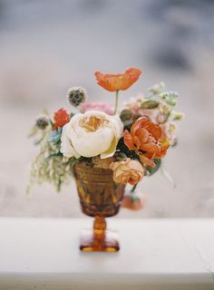 Amber glass centerpieces