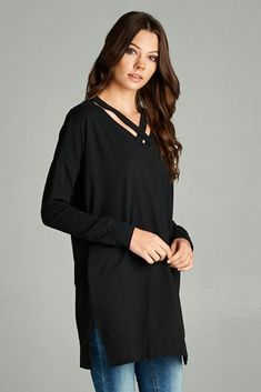 Basic Solid Tunic Top : Black