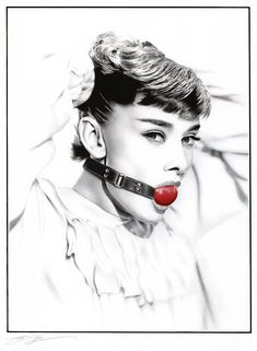 Ballpoint pen drawing of Audrey Hepburn with ball gag by James Mylne  (2015 purchase)