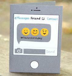 tarjetas de cumpleaños para una amiga, tarjeta de cumpleaños divertida como mensaje en facebook messenger con emojis felices