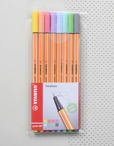 8 Fineliners / pastel pens from Stabilo THE German design classic by Stabilo: the Stabilo 88, here in lovely and delicate pastel colors. The fineliners have a very high quality and were made in Germany. For stationery lovers who tend to forget: the STABILO® Anti-Dry-Out Technology