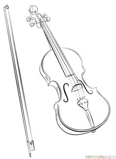 How to draw a violin and bow step by step. Drawing tutorials for kids and beginners.