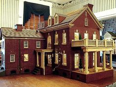 Nice old brick dollhouse with plenty of detail, great style and design.  .....Rick Maccione-Dollhouse Builder www.dollhousemansions.com