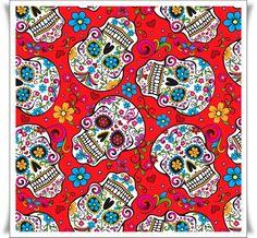 Tela de algodon 100% con dibujos de calaveras folkloricas.