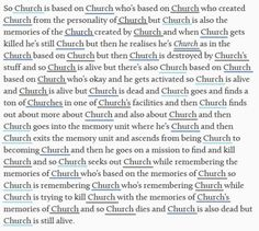 Church no longer feels like a real word after reading that XD
