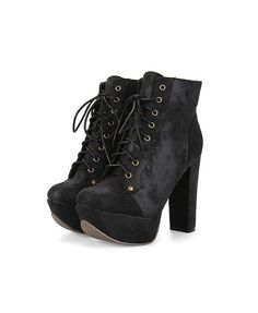 Black Lace Up Heeled Boots with Chunky Flatform Sole #Chicnova Fashion