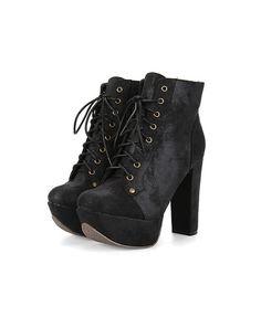 Black Lace Up Heeled Boots with Chunky Flatform Sole #Chicnova Fashion