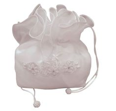 White Organza First Communion Dolly Bag - Flowers and Diamontes - Little People 5235- Girls Holy Communion Bag with Drawstring Closure White Organza