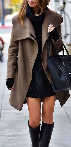 Taupe coat over black dress with black OTK boots.