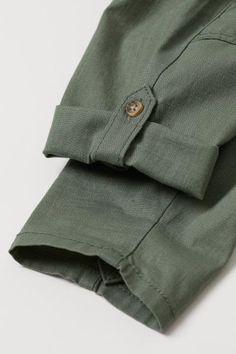Roll-up Cotton Pants - Khaki green - Kids Mens Fashion Wear, Fashion Pants, Traje Casual, Mens Kurta Designs, Designs For Dresses, Pants Pattern, Cotton Pants, Khaki Green, Pants For Women