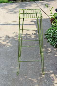 Antique Mid Century Hairpin Plant Stand Side by QUEENIESECLECTIC