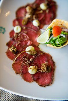 Biltong Encrusted Venison Carpaccio starter at Shimmy Beach Club - new winter menu