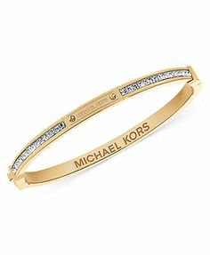 Michael Kors Gold-Tone Baguette Crystal Bangle Bracelet