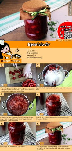 Erdbeermarmelade Heavenly strawberry jam you can easily cook yourself. The strawberry jam recipe video is easy to find using the QR code :] jam # Konfitü Dessert Drinks, Dessert Recipes, Strawberry Jam Recipe, B Recipe, Hungarian Recipes, Healthy Eating Tips, Healthy Nutrition, Jam Recipes, Drink Recipes