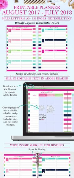 Stay organized with this beautiful and functional August 2017 - July 2018 weekly printable planner! When you purchase this item you will: Download the PDF file through Etsy. Print the file at home or your local print shop. Plan for a productive new school year! The printable planner has editable text on the monthly calendar pages which is perfect for typing in birthdays, events, and holidays! The editable text fields can be filled in using the free Adobe Reader program. Editable Text is…