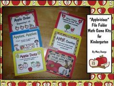 6 Kindergarten file folder math games for numbers 1-10, along with coordinating worksheets.  Perfect for the beginning of the year!