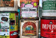 vintage paint cans great for decor! a must have. cool storage.