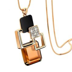 YAZILIND Charm Brown Magic Space Crystal Statement Long Chain Pendant Necklace Jewelry