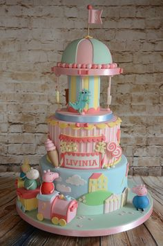 Peppa pig carousel cake More eppa Pig is usually one of our favourite pre-school get Peppa Pig Birthday Cake, Birthday Cake Girls, 3rd Birthday, Birthday Ideas, Tortas Peppa Pig, Peppa Pig Cakes, Torta Candy, Carousel Cake, Gateaux Cake