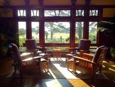 Stickley Furniture in the Lodge at Torrey Pines craftsman living room (c) David Kramer/The Craftsman Bungalow www.TheCraftsmanBungalow.com