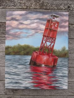 Red Navigational Buoy Painting by AprilBestStudios on Etsy, $165.00