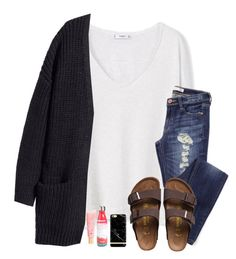 """I hate to think about you with somebody else"" by hailstails ❤ liked on Polyvore featuring MANGO, H&M, Birkenstock, Richmond & Finch, S'well and Lano"