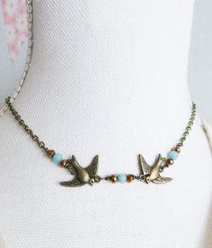 Bird choker, blue beaded chokers, boho necklaces, woodland style jewelry, nature inspired, birds, bohemian, gift for her