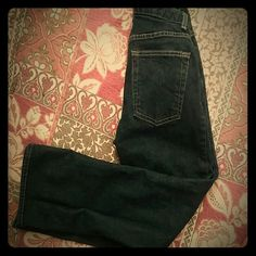 """GAP Dark Wash Boot Cut Anke Length Jeans Dark Wash with Gold stitching like new denim.  99% Cotton,1% Lycra spandex.  27"""" Waist, 27"""" inseam, 9"""" front rise, 16"""" leg opening.  All measurements are approximate. GAP Jeans Boot Cut"""